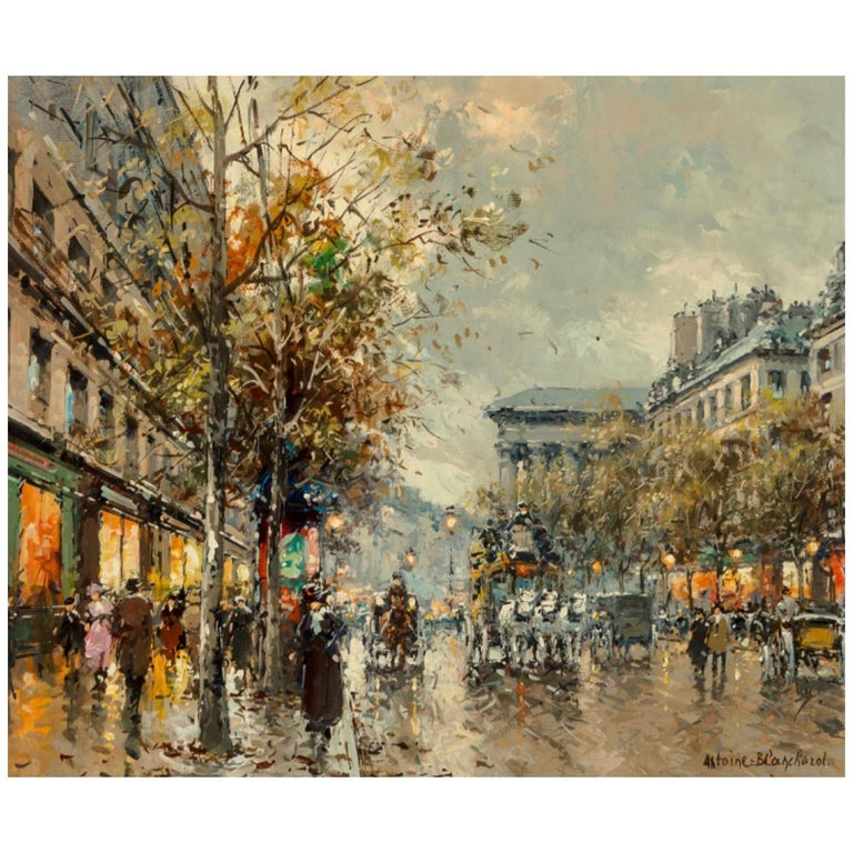 "Antoine Blanchard ""Boulevard De La Madeleine"" 18x21 For Sale"