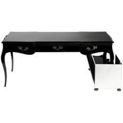 Boulevard Writing Desk in Black Lacquered with Leather Top