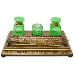 Boulle Cut Brass Inlaid Inkstand, 19th Century