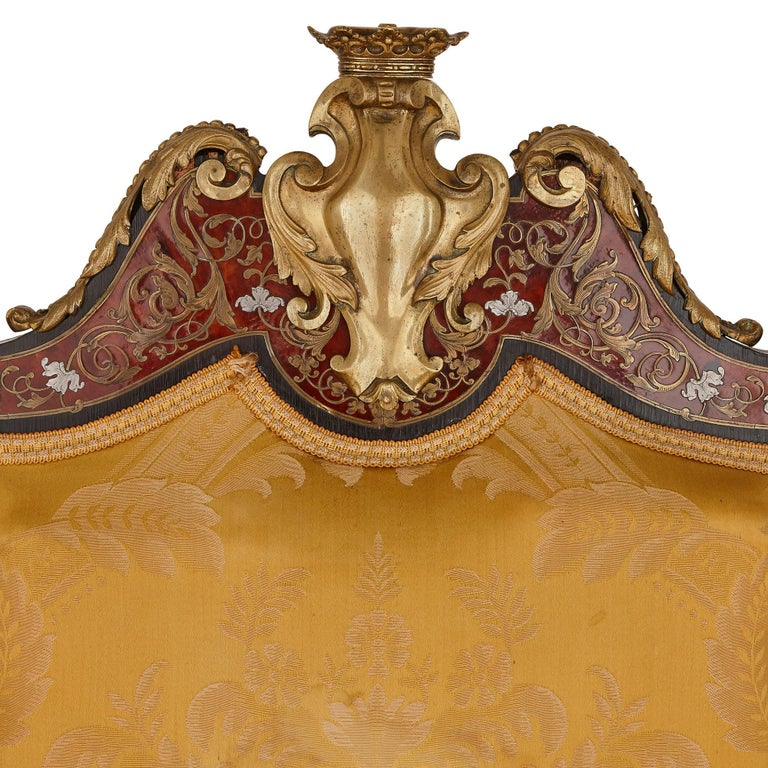 French Boulle Inlaid Armchair with Gilt Bronze Mounts For Sale