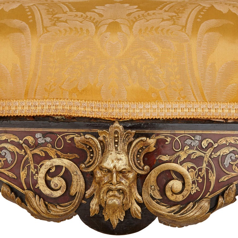 Ebonized Boulle Inlaid Armchair with Gilt Bronze Mounts For Sale