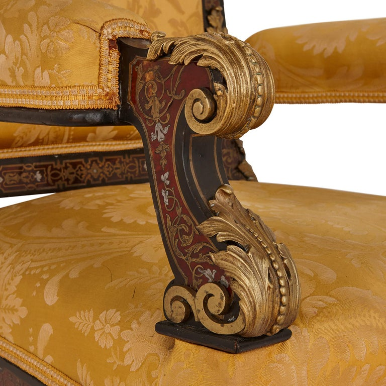 19th Century Boulle Inlaid Armchair with Gilt Bronze Mounts For Sale