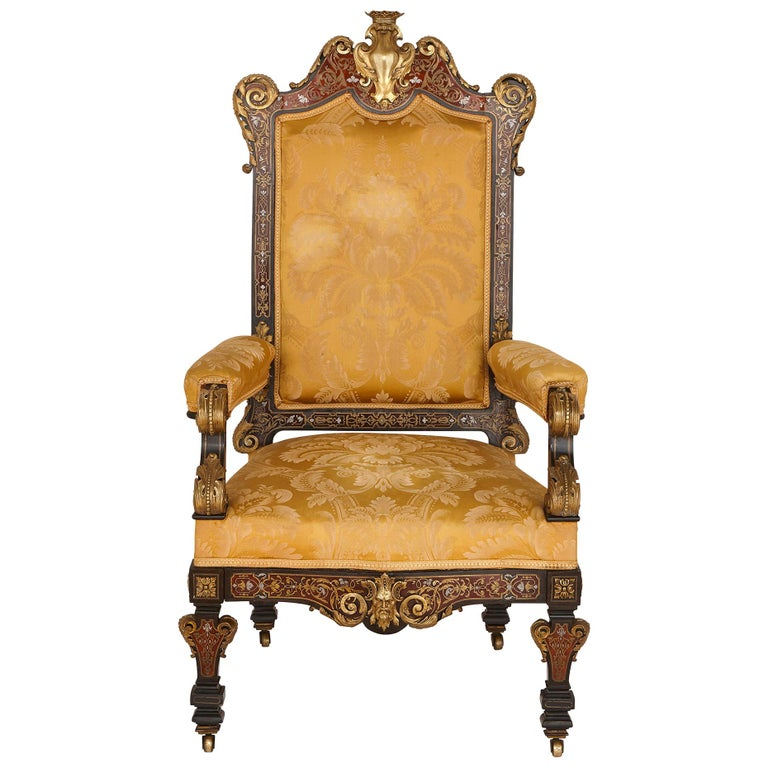 Boulle Inlaid Armchair with Gilt Bronze Mounts For Sale