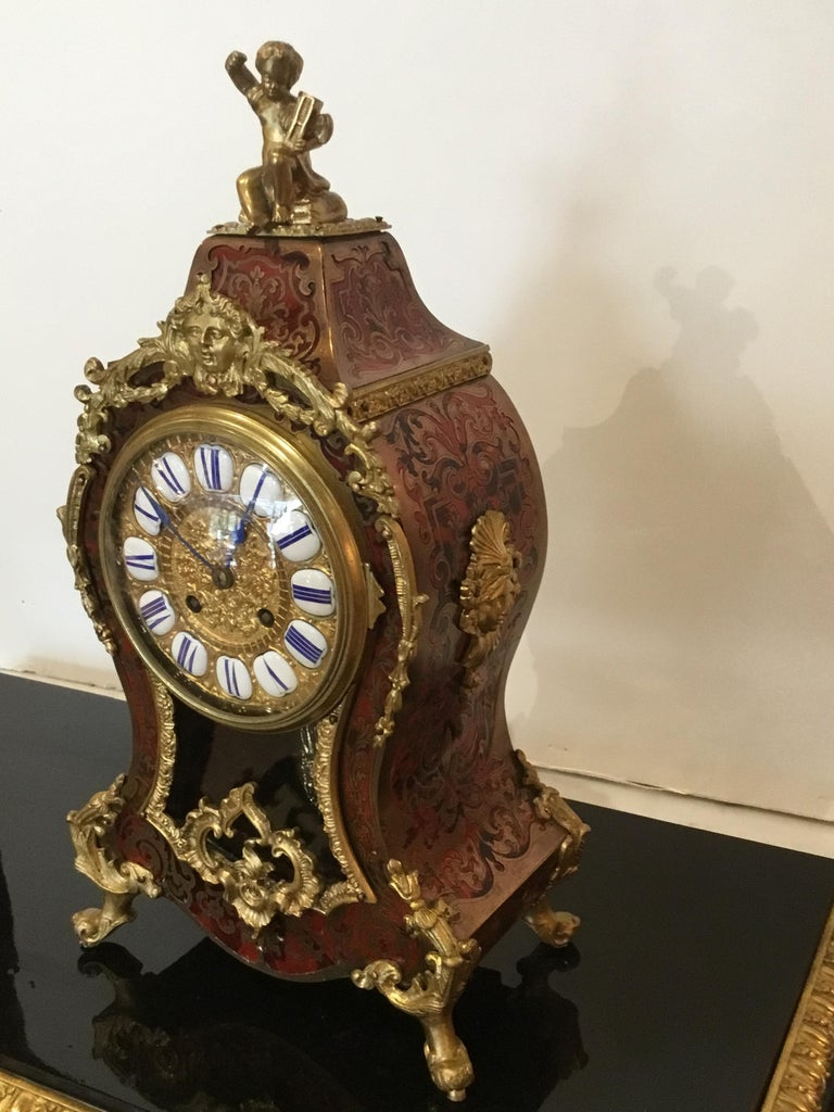 French Boulle Marquetry, Louis XIV Style Ormolu Mounted Clock, 19th Century For Sale