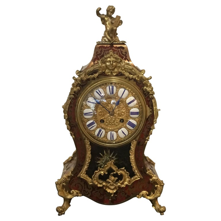 Boulle Marquetry, Louis XIV Style Ormolu Mounted Clock, 19th Century For Sale