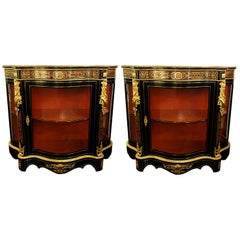 Boulle Style Cabinets Displays Pair of Vintage, circa 1970