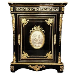 Boulle Style Napoleon III Medaillon Cabinet, France, 1865
