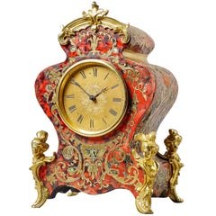 Boulle Tortoiseshell and Gilt Brass 19th Century Mantel Clock