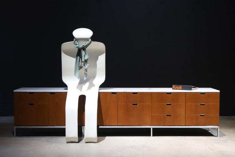 Indoor or outdoor lounge chairs designed by Olivier Mourgue for Airborne. A functional lounge chair or simply a piece of art for any interior. Pictured with scarf and Florence Knoll credenza for scale.