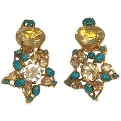 Bounkit Turquoise and Lemon Quartz Flower Earrings