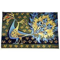 """""""Bouquet d'oiseaux bleus"""" Tapestry Signed by Claude Bleynie"""