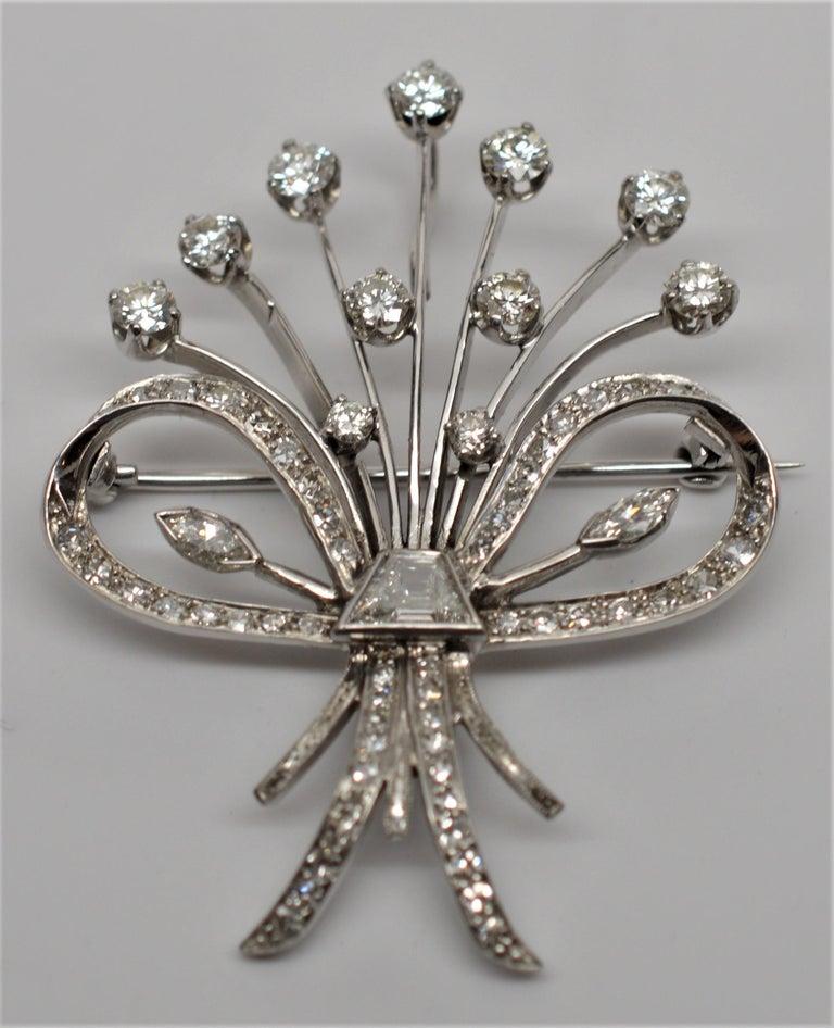 Bouquet of Diamonds 18 Karat White Gold Pin Pendant. Timeless American Twentieth Century  piece . Eleven Diamond buds