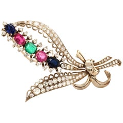 Bouquet of Flowers Brooch with Rubies, Sapphires, Emerald and Diamonds