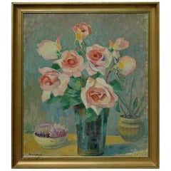 Bouquet of Roses by Hermine David, Oil on Cardboard Linen, Signed