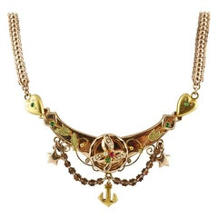 Bourbon Period, Little Pearls, Stone, Yellow and Rose Gold Necklace