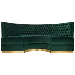 Bourbon Round Sofa in Cotton Velvet and Brushed Brass Base