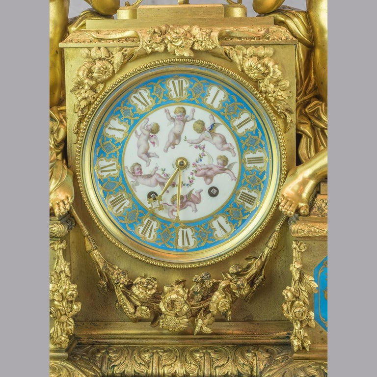 Bourdin À Paris Figural Ormolu Mantel Clock, circa 1890 In Excellent Condition For Sale In New York, NY