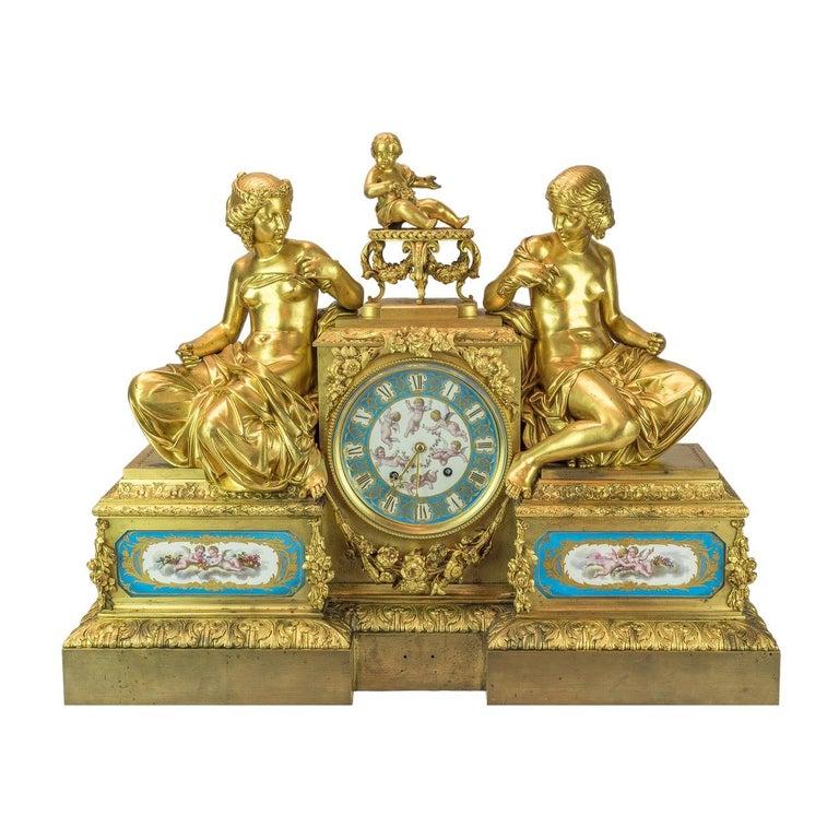 Bourdin À Paris Figural Ormolu Mantel Clock, circa 1890 For Sale
