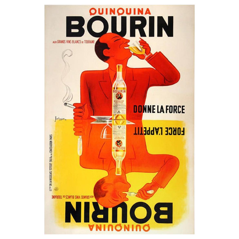 Vintage Poster Original Bourin Quinquina Poster Bellenger 1936 Food &Wine French