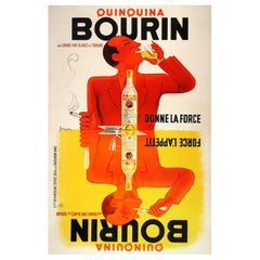 Vintage Poster Original Bourin Quinquina Poster Bellenger 1936 Food &Wine French