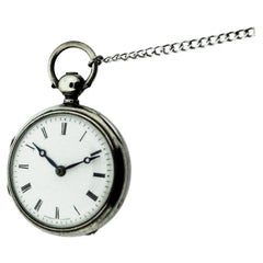 Bourquin Geneve Sterling Silver Enamel Dial Verge Fusee Small Pocket Watch, 1840