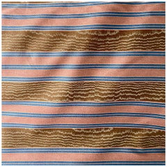 "Boussac Pink, Blue, Brown Striped Woodgrain ""Kim' Textile, France, 1982"