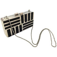 Boutique Geometric Sivler Tone Disco Bag with Rope Chain