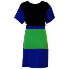 Boutique Moschino Color Block Sheath Multi Color in Black, Blue & Green