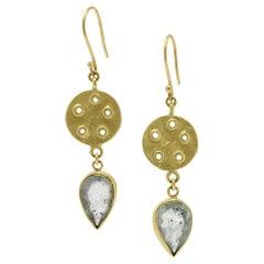 Moss Aquamarine Gold Earrings