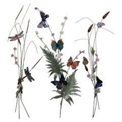 Bovano of Cheshire Copper Enamel Wall Art Sculpture Flowers Cattails Butterflies