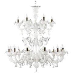 Classic Chandelier 12+6 arms Two Tiers White Murano Glass Bovary by Multiforme