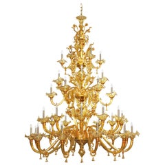 Venetian style Chandelier, 42 arms, 3 Tiers, Amber Murano Glass by Multiforme