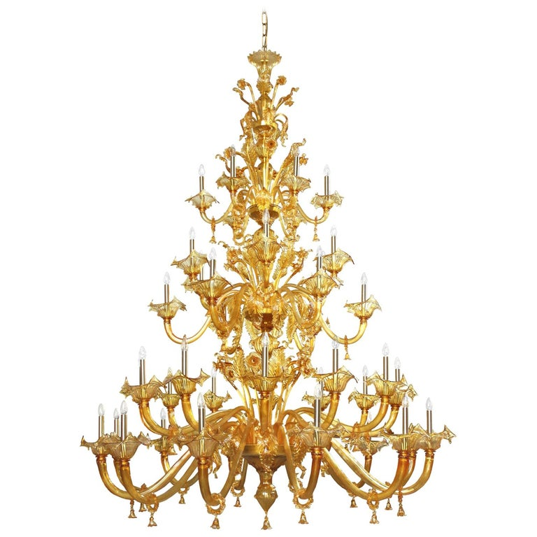 Bovary Chandelier, 42 Lights, Three Tiers, Amber Murano Glass by Multiforme For Sale