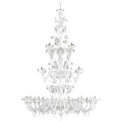 Classic Chandelier 16+8+4 arms 3 Tiers Encased white Murano Glass by Multiforme
