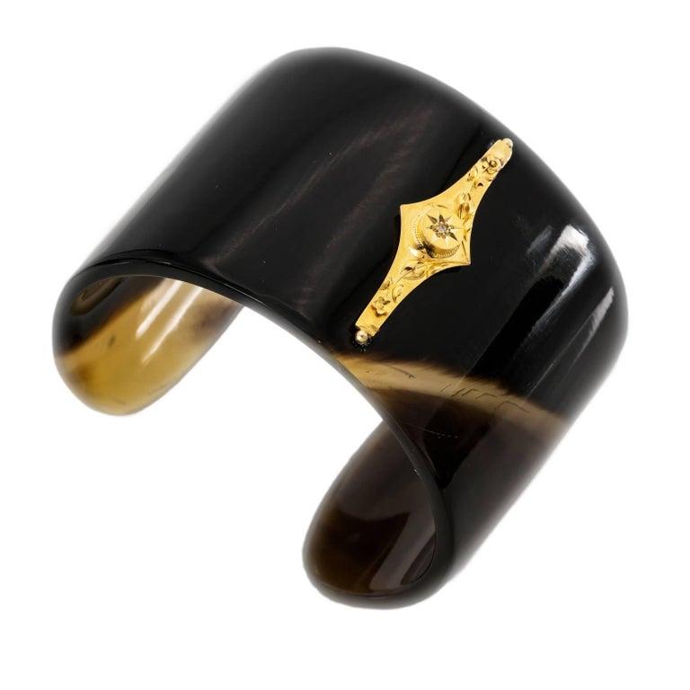 Modern Horn Cuff with Vintage 14 Karat Diamond Bar