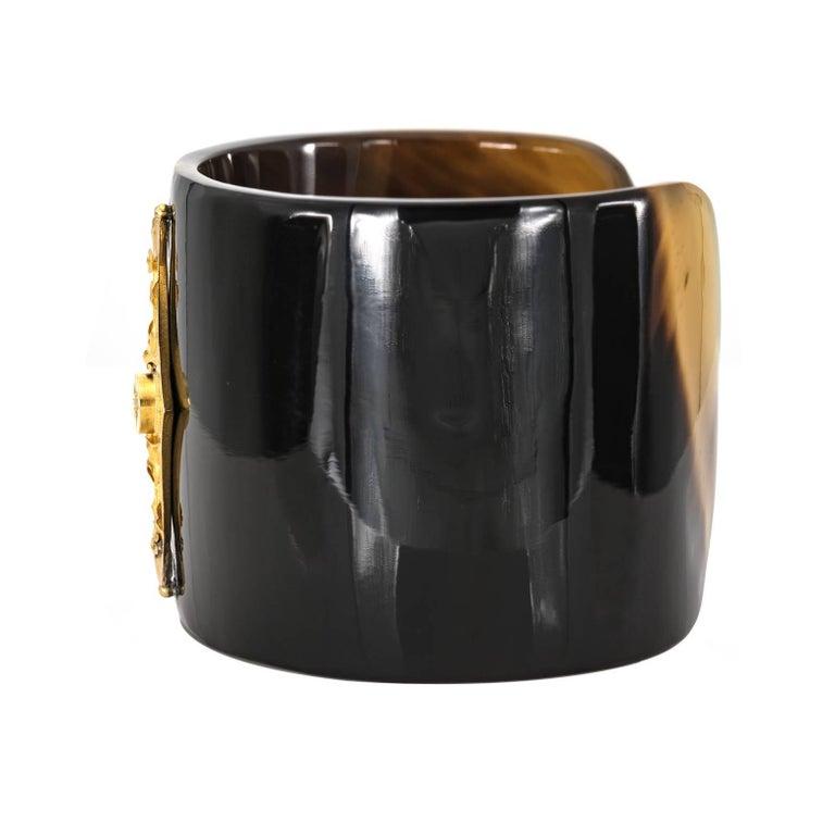 Horn Cuff with Vintage 14 Karat Diamond Bar 1