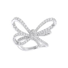 Bow Cocktail Ring crafted in 18K White Gold and White Diamonds