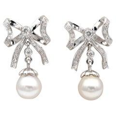 Bow Earrings .60 Carat Diamond, Cultured Sea Pearl 18 Karat Gold Earrings