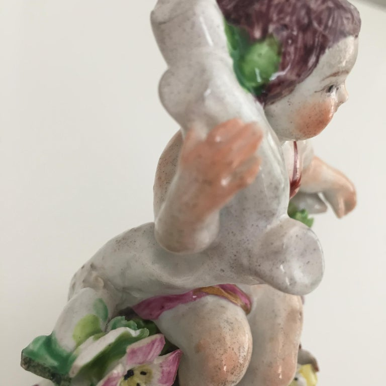 Bow Porcelain Figure of Boy or Putto on C-Scroll Base, Georgian circa 1760 For Sale 2