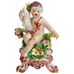 Bow Porcelain Figure of Boy or Putto on C-Scroll Base, Georgian circa 1760