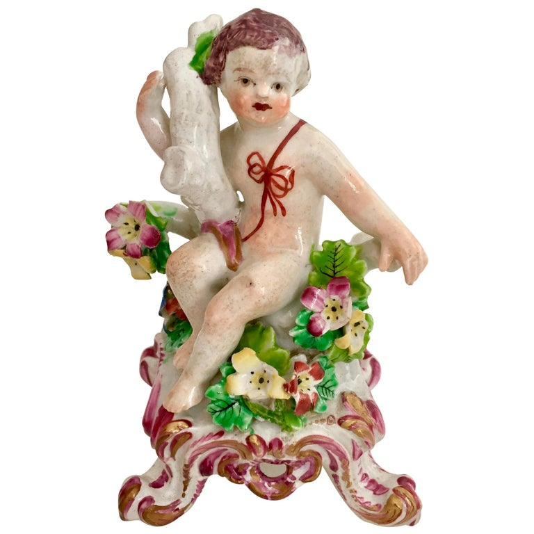Bow Porcelain Figure of Boy or Putto on C-Scroll Base, Georgian circa 1760 For Sale