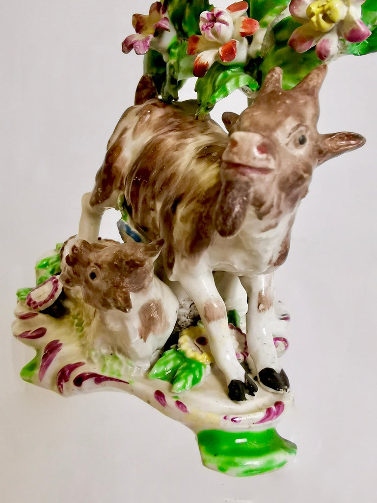 Porcelain Bow Figure of Goat and Kid, circa 1765 For Sale