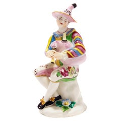 Bow Figure of Harlequin Playing Bagpipes, circa 1765