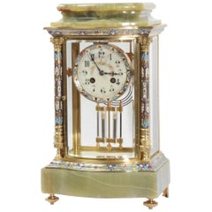Bow Front Champlevé Enamel, Ormolu and Onyx Four Glass Library Regulator