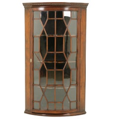 Antique Bow Front Cabinet, Walnut, Entryway Furniture, Scotland 1930, B1748
