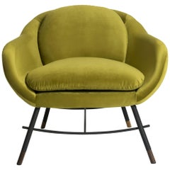 Bow Low Armchair in Velvet Fabric by Mool
