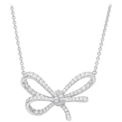 Bow Pendant crafted in 18K White Gold and White Diamonds