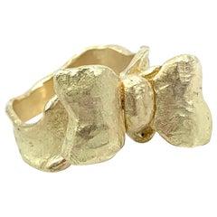"""Bow"" Ring Mounted on Ribbon Band of Satiny 18 Karat Yellow Gold"