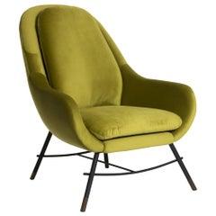 Bow Tall Armchair in Velvet Fabric by Mool