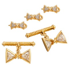 """Bow Tie"" Motif Cufflink and Stud Set with Trillion Diamonds"